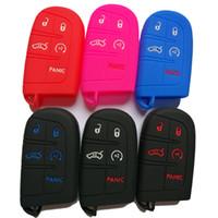 keyless fernhalter großhandel-5 Tasten Schlüsseletui Abdeckung Jacke Silikonkautschuk Fob Keyless Remote Holder Skin passend für JEEP FIAT DODGE CHRYSLER Smart Remote Key
