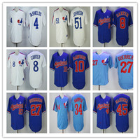 Wholesale Blue Anthony - Men's Montreal Expos Jerseys 27 Vladimir Guerrero 45 martinez 51 Johnson 10 Dawson 8 Carter baseball Jerseys