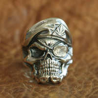 Wholesale pirate ring silver for sale - Group buy LINSION Sterling Silver Pirate Skull Ring Mens Biker Punk Ring TA99 US Size to