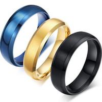 paare blaue edelstahlringe großhandel-Schmucksache-neue klassische blaue Titanstahlring-Paar-Edelstahl-Ringe für Paar schellt Geschenk Freies Verschiffen
