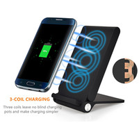 Wholesale universal device charger for sale - 3 Coils Foldable Wireless Charger Fast Qi Wireless Charging Pad for Samsung Note iPhone X Plus and All Qi Enabled Devices With Package