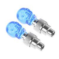 проблесковые светодиодные фонари для автомобилей оптовых-2Pcs Hot Creative Car Bike Warning Lamp Flashing Bulb Blue Stunning Skull Blue LED Valve Tire Lights Bicycle