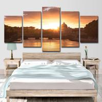 religiöse leinwand gemälde großhandel-Leinwand HD Drucke Bilder Wandkunst Poster 5 Stücke Barock Religiöse Gebäude Gemälde Wohnzimmer Wohnkultur