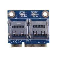 e kartenleser großhandel-Freeshipping Mini PCIE Karten-Adapter PCI-e mpci-e zu Doppel-TF SDHC SDXC Leser-Adapter PCI-E ZU TF Karte Unterstützung Windows 7 / Vista / XP Mac OS