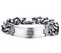 Wholesale Id Cuff - whole sale16mm 8.26'' Stainless steel Cross scriptures ID Bracelet Curb Chain Fashion Silver for women men