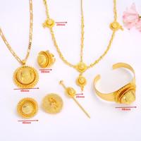afrikanisches gold gefüllt großhandel-Ganzer VerkaufEthiopian Jewelry set Gold gefüllt Anhänger Halsketten / Ohrringe / Ring / Armreif hairchain African Braut Habesha Frauen Hochzeitsgeschenk