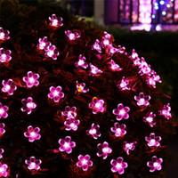 gece perileri toptan satış-Güneş LED Işıkları 21ft 50 LEDs Peri Çiçek Çiçeği Yılbaşı Partisi Işıkları Bahçe Lambası Su Geçirmez Açık Gece Işıkları