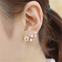 Wholesale Beautiful Shells - Korean Style Women Fashion Crystal Earrings Beautiful Pearl Branch Shell Pearl Stud Earring Girl Fine Jewelry Valentine's Day Gift B002