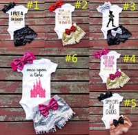 Wholesale Children Hair Pieces - Baby girl INS letters rompers suit 7 Style Children Short sleeve triangle rompers+paillette shorts+bowknot Hair band 3pcs sets clothes