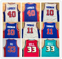 Wholesale hills shipping - Fast Shipping Wholsale Cheap Men Jersey 10# Dennis Rodman Throwback 11# Isiah Thomas 33# Grant Hill 40#Laimbeer Embroidery Jerseys S-XXL