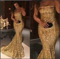 meilleures robes de bal de sirène d'or achat en gros de-Balayage train slinky élégante sans bretelles robe de bal d'or de paillettes longue robe de soirée de sirène meilleur robe de nuit d'or en ligne