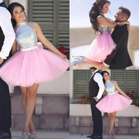 Wholesale short dress sequin top white for sale - Group buy New Halter High Neck Sequined Top Short Homecoming Dresses Pink Tulle Puffy Skirt Mini Cocktail Party Gowns For Girls BA7831