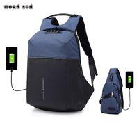 ingrosso zaino universitario blu-adolescente blu nero moda zaino Studenti universitari USB jack impermeabile ragazza scolara laptop zaino scuola borsa borse da viaggio