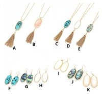 Wholesale turquoise tassel necklace jewelry - 11 Styles Kendra Hexagon Stone Pendant Tassel Scott Turquoise Necklaces Earrings New York MKI Brand Jewelry