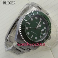 зеленая рамка автоматическая оптовых-43 мм BLIGER зеленый циферблат дата вращающийся безель световой стрелки сапфировое стекло механизм с автоподзаводом мужская бизнес Механические наручные часы