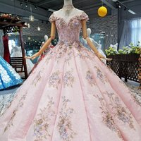 Wholesale art curves online - 2019 Pink Ball Gown Party Dresses Off Shoulder Sweetheart Evening Dresses With Crystal Necklace Curve Shape Prom Dress Girl Pageant Dress