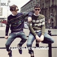 Wholesale ugly sweaters - Christmas New Fashion Winter Warm Wool Knied Mens Ugly Christmas Deer Sweater Crewneck Long Sleeve Reindeer Pullover Knitwear