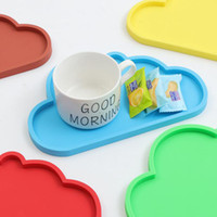 Wholesale wholesale accessories japan - Cute Colourful Cloud Shape Silicone Cup Drink Coaster Mug Mat Tableware Home Kitchen Accessories Free Shipping ZA6646