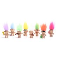 baby mädchen diy großhandel-HEISSER Verkauf 80pcs / lot bunte Haar-Troll-Puppen-Familienmitglieder Vati-Mamma-Baby-Mädchen-Verdammungs-Troll-Spielzeug-Geschenk-glückliche Liebes-Familie