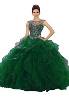 vestidos de noite requintados cristais frisados venda por atacado-Exquisite Verde Quinceanera Prom Vestido de Baile Ruffles Tulle Cap Mangas Curtas Bateau Sheer Neck Cristal Frisada Oco Voltar Vestidos de Noite