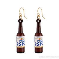 brincos de garrafa de perfume venda por atacado-Coréia Personalidade De Vidro Garrafa De Cerveja Brincos Moda Garrafa De Perfume Europeu Eardrop Orelha Prego