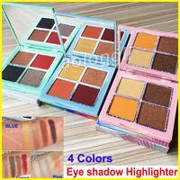 Wholesale green highlighters - New 4 Colors Eyeshadow Makeup Kourt eye shadow palette Highlighter pressed powder eyeshadow Green Blue Pink palette 3 Styles free DHL