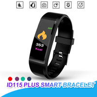 Wholesale pedometers online - For Apple Watch Color Screen ID115 Plus Smart Bracelet Fitness Tracker Pedometer Band Heart Rate Blood Pressure Monitor Smart Wristband