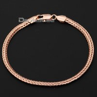 Wholesale wheat chain filled for sale - Group buy Davieslee High Quality Womens Mens Chain Party Rose Gold Filled Wheat Foxtail Bracelet mm Party Daily Wear DLGB187