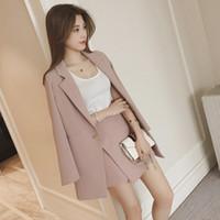 pembe kore ceket toptan satış-Kadın Set 2017 Kore Moda Sonbahar Blazer Suit Yaka Uzun Kollu Pembe Çizgili Ceket Şort Blazers Ofis 2 Parça