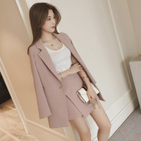 розовая корейская куртка оптовых-Women's Set 2017 Korean Fashion Autumn Blazer Suit Lapel Long Sleeve Pink Striped Jacket Shorts Blazers Office 2 Pieces