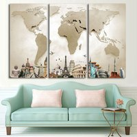 Wholesale Hd Picture Frame - Canvas Painting Wall Art HD Printed Pictures For Living Room 3 Piece Frame Vintage World Map Landscape Modular Poster Home Decor
