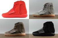 satılık kahverengi ayakkabılar toptan satış-Sıcak satış tasarımcısı ayakkabı Kanye West 750 çizmeler Açık Gri Kahverengi sneakers Üçlü Siyah Gri Rahat ayakkabılar 750 Açık yürüyüş koşu ayakkab ...
