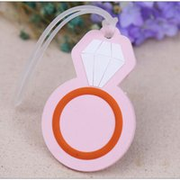 Wholesale Favor Tags - Silicone Diamond Ring Luggage Tag Pink Diamond Shaped Suitcase Baggage Tag Wedding Party Favors Giveaway For Guest AAA426