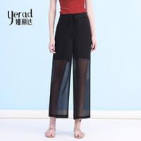 Wholesale palazzo chiffon - YERAD Summer Black Chiffon Pants 2018 Fashion Drawstring Loose Wide Leg Pants Women Double Layer Palazzo