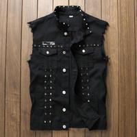 мужская одежда оптовых-Red Black White Hip Hop Rivet Denim Vest Men Slim Fit Coats Male Cowboy Waistcoat Man Sleeveless Jean Jacket Punk Style Clothing