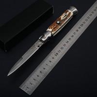 Wholesale damascus knife antler - 9 Inch Italian Godfather Mafia Stiletto Automatic Pocket Folding Knife Damascus Blade Antler Handle Outdoor Tactical Camping Hunting EDC