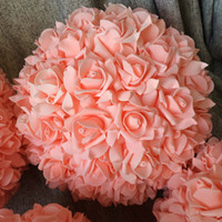 "Wholesale flower balls for centerpieces - (8pcs lot) 11"" Peach Kissing Ball Pomander Foam Rose Flower Balls For Wedding Centerpieces(Other colors option) Free Shipping"