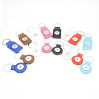 Wholesale square metal key chains - Noosa PU Leather Snap Button Keychain Square Round Snap key rings Jewelry DIY 18mm Snap Button Key chain Keyrings Accessories