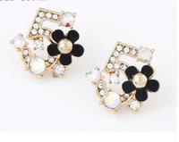 Wholesale Czech Earrings - Korea Fine Fresh Flower Czech Number Five Earring Crystal Rhinestone Jewelry CC 5 Earrings For Women Stud Earrings Gifts