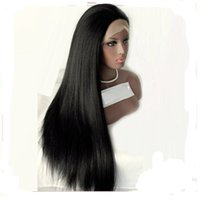Wholesale wig long straight hair 34 - Synthetic Lace Front Wig Straight Yaki Natural Hairline Black Women's Lace Front Natural Wigs Medium Long Synthetic Hair