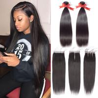 7a sınıf bakire insan saçı brazilian toptan satış-Beaudiva Saç Ürünleri 2 Demetleri ile Brezilyalı Bakire Düz Saç 4 * 4 Kapatma Sınıf 7A İşlenmemiş Virgin İnsan Saç Dokuma