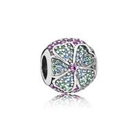 ingrosso perline che contrassegnano gioielli-Nuove autentico Argento 925 Blooms Glorious con perline di cristallo di fascino misura Pandora braccialetto del braccialetto per le donne Gioielli fai da te Marcatura