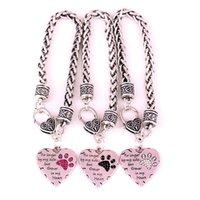 pulseras conmemorativas al por mayor-Ya no a mi lado, sino para siempre en mi corazón Crystal Dog Cat Paw Print Garras Charm Bracelet Animal Lover Memorial Jewelry Friend Gift