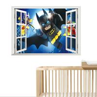 Wholesale 3d window art for wall online - Lego Batman Window Wall Stickers Kids Room Decoration d Cartoon Movie Mural Art Diy Home Decals Poster Boys Gift