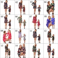 Wholesale snowflake clothing online - Family Matching Christmas Dress Outfits Mother And Daughter Clothes Long Sleeve Snowmen Snowflake Mom And Me Xmas Santa Claus Dresses