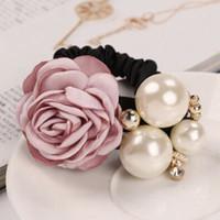 розовая ленточная галстук оптовых-kai yunly 1PC Women Satin Ribbon Rose Flower Pearls Hair Band Ring Tie Rope Pink Aug 23