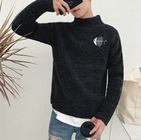 Wholesale Fishing Shirt Xl Long Sleeve - New Turtleneck Sweater Mens Black Cat And Fish Printed Men Women Lovers Winter Sweater shirt