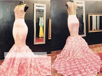 Wholesale Maternity Bottoms - Prom Dresses 2018 Elegant Jewel Gorgeous Pink Lace Mermaid Evening Gowns Flowers-Bottom Plus Size Custom Made Court Train Vestidos BA5587