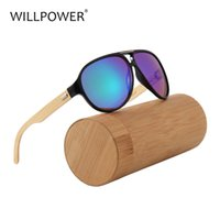 tapınak güneş gözlüğü toptan satış-WILLPOWER Modası Büyük Güneş Gözlüğü Adam Marka 2018 Bamboo Temple Güneş Gözlüğü