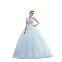 ingrosso bottoni di mop-2019 New Simple White Wedding Dresses A Font - Back button Jacobs Mopping Lace Applique Nail Bead Beach Abiti da sposa HY098